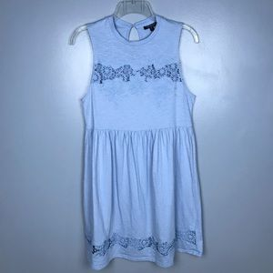 Topshop Baby Blue Lace Cotton Sleeveless Dress